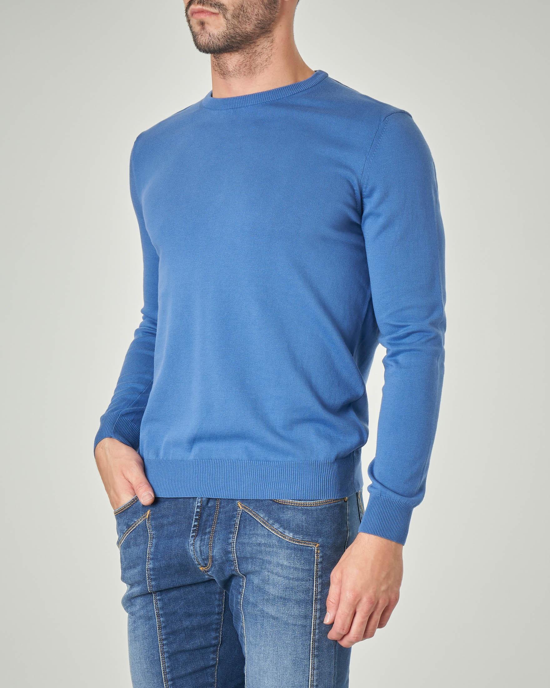 Maglia azzurra girocollo in cotone