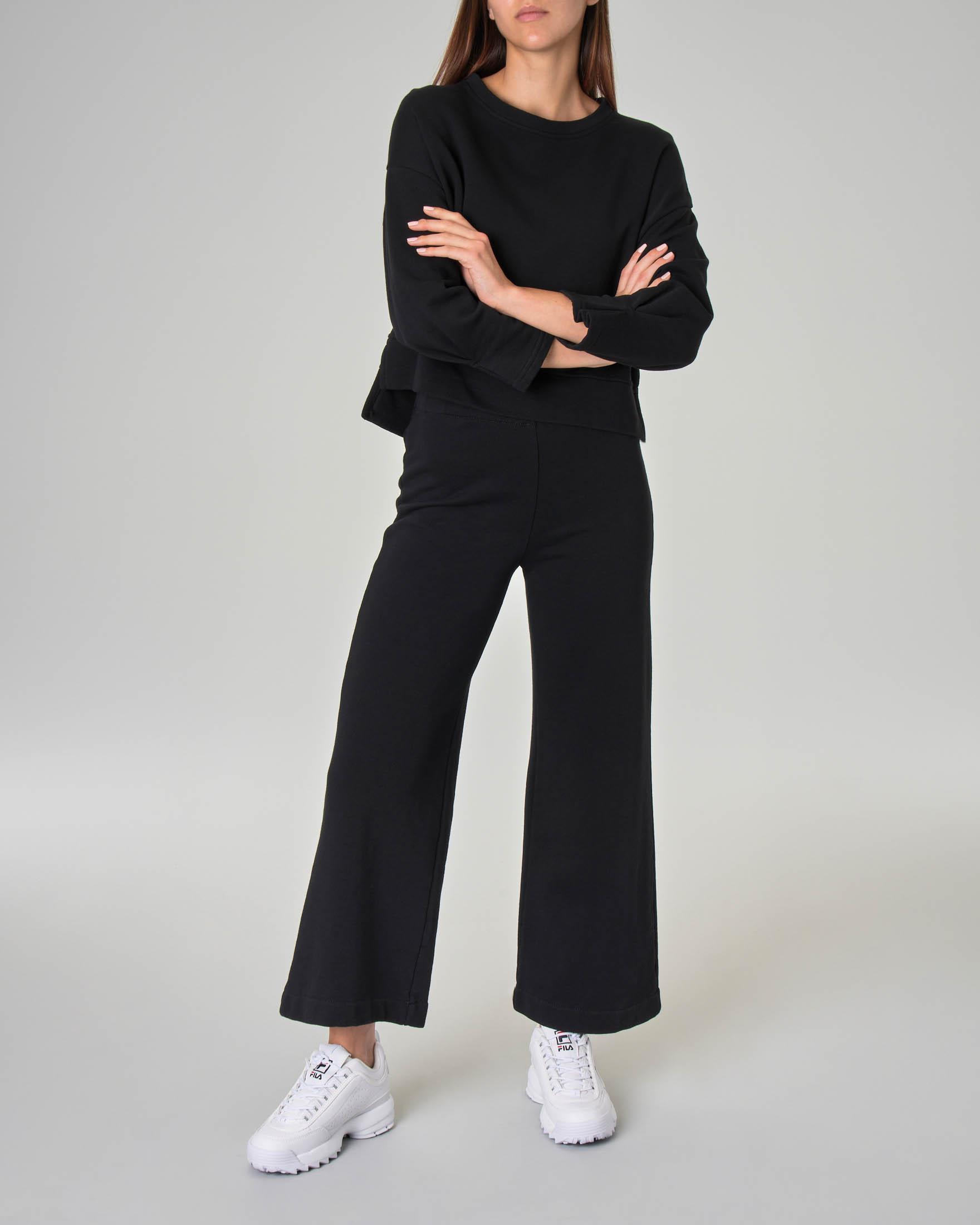 Felpa linea boxy in jersey di cotone nero
