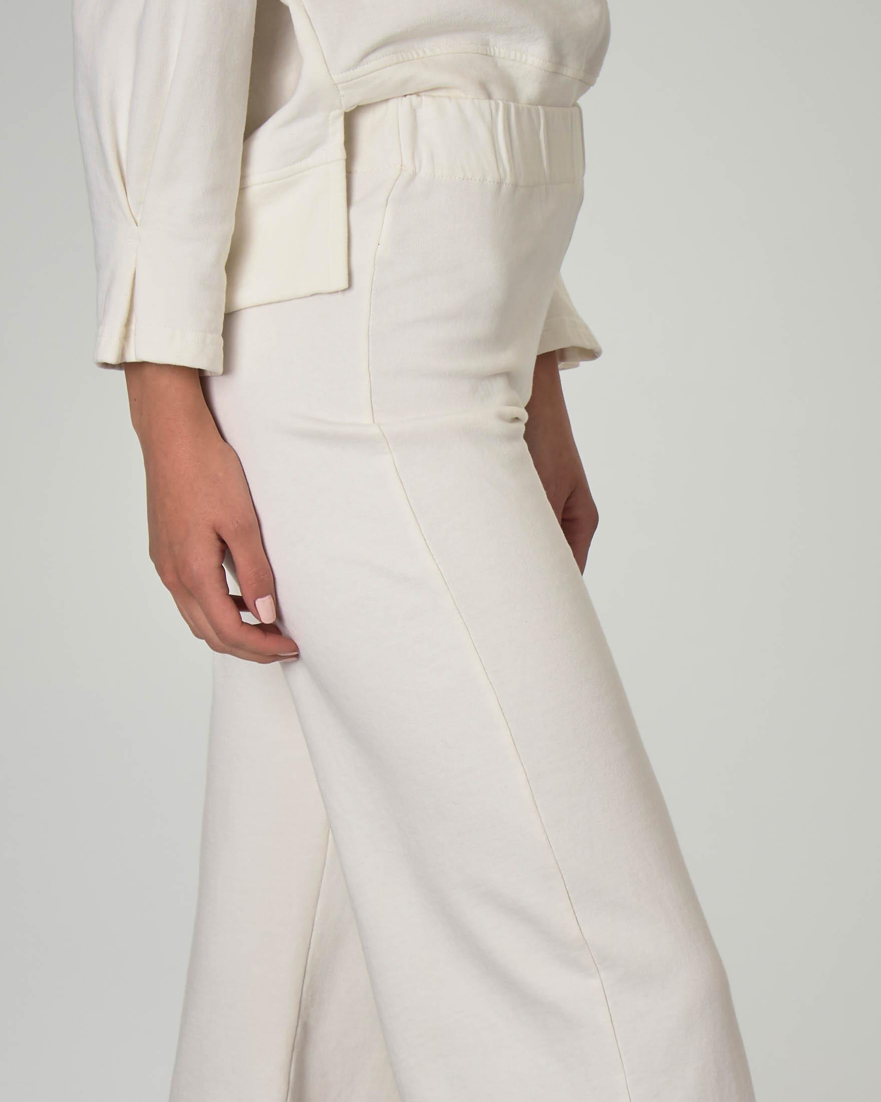 Pantaloni in jersey di cotone color panna con fondo ampio