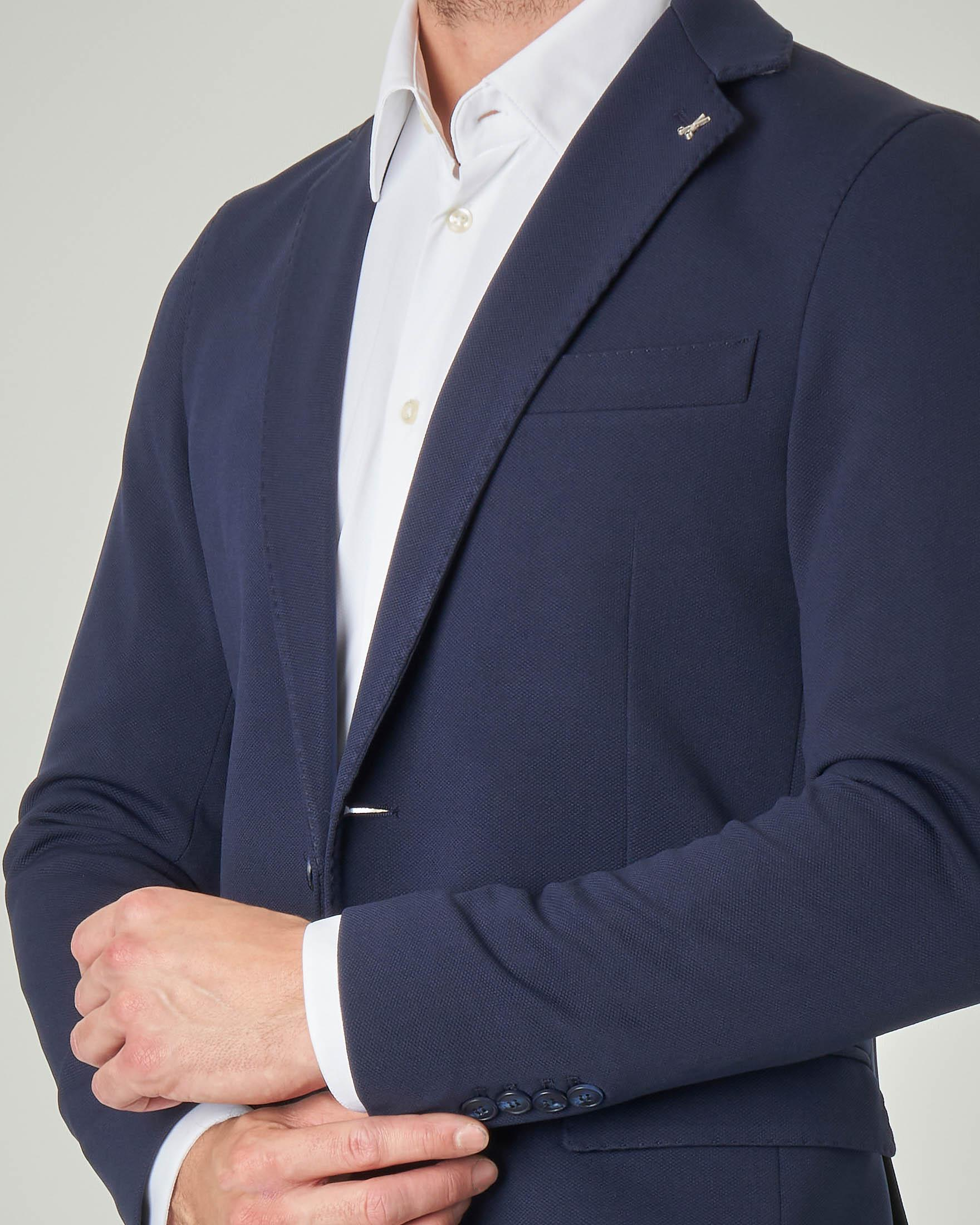 Blazer blu in tessuto micro piquet stretch