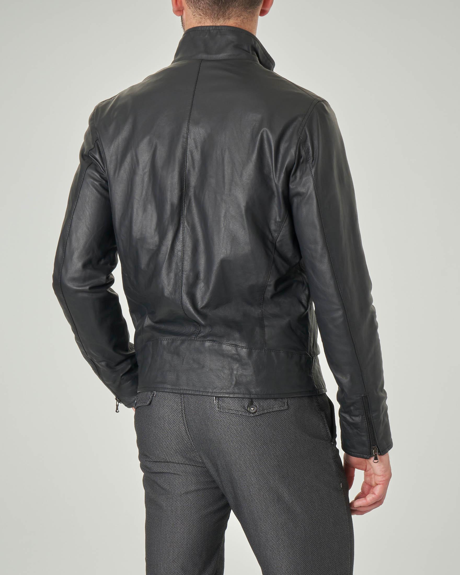 Giacca biker nera in pelle