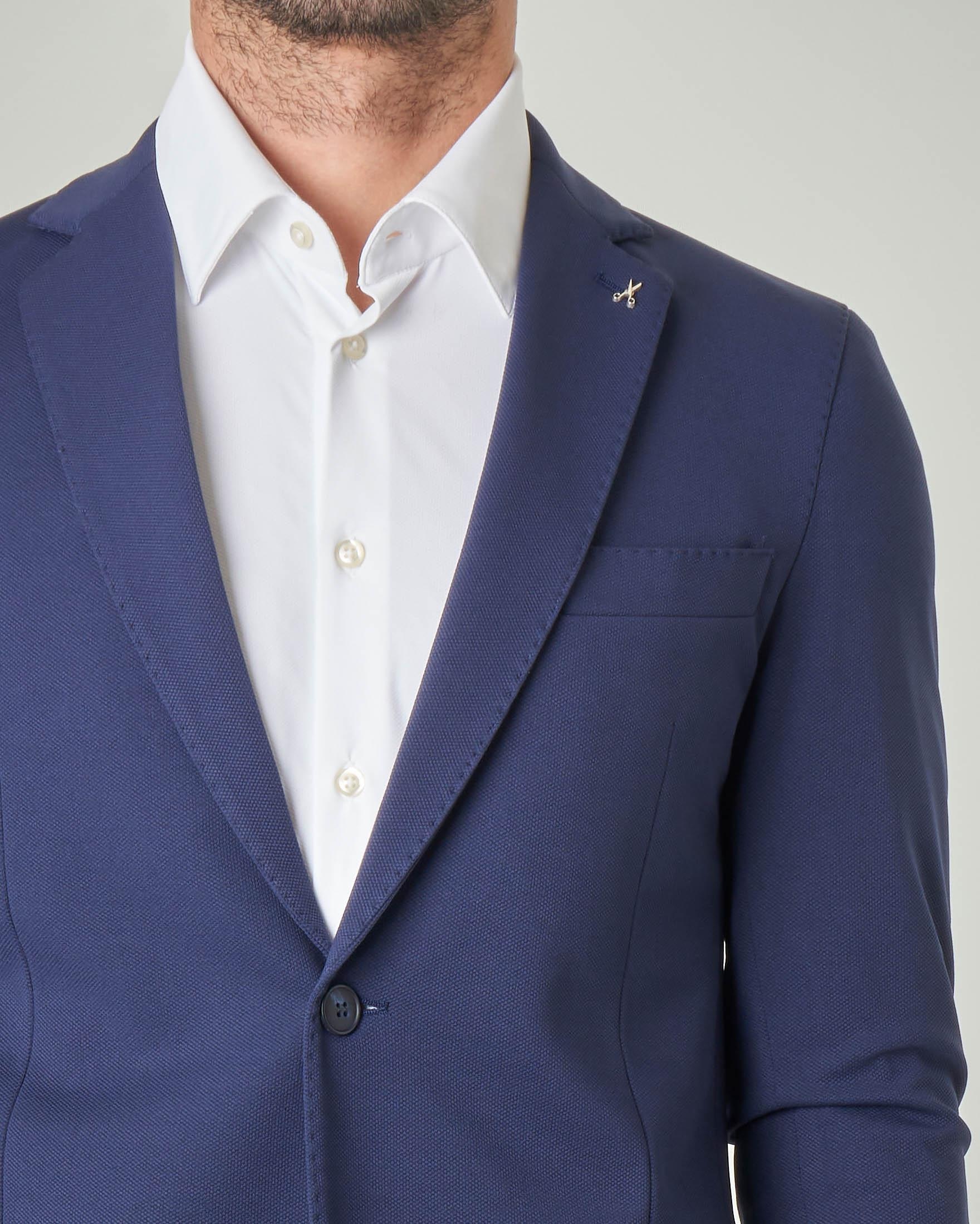Blazer blu indaco in tessuto micro piquet stretch