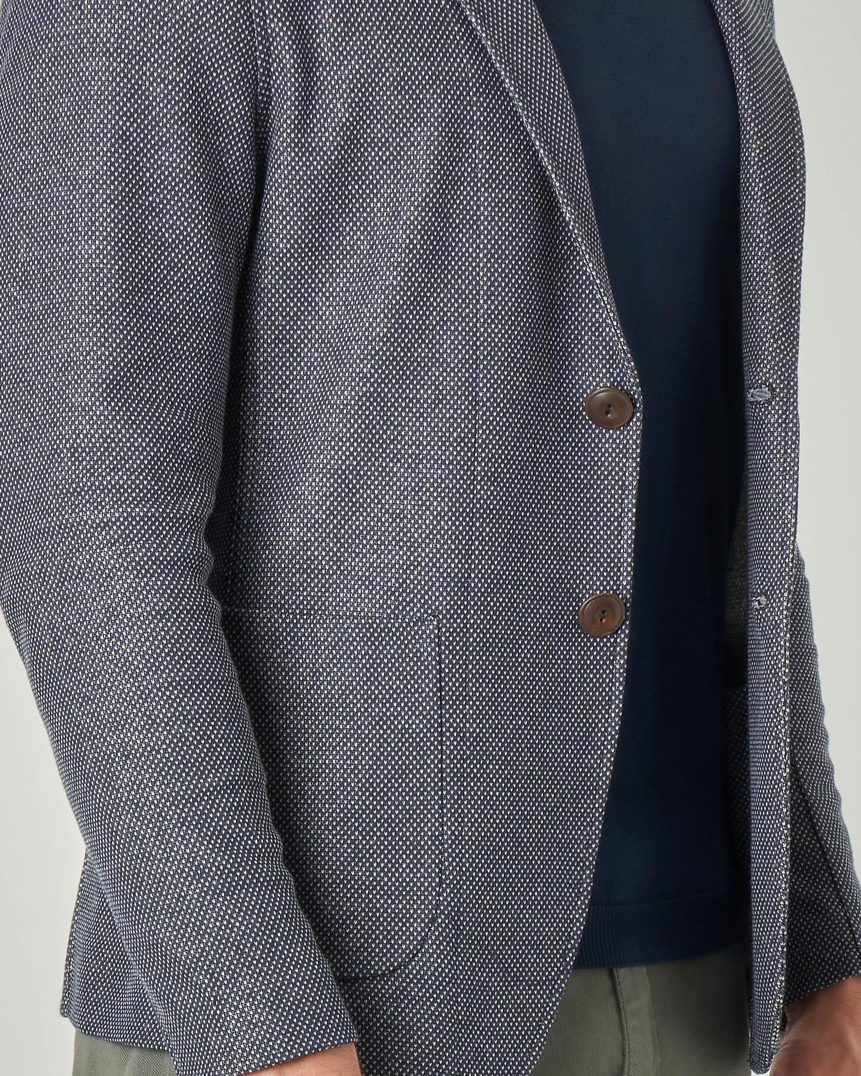 Giacca maglia blu in cotone micro fantasia stretch