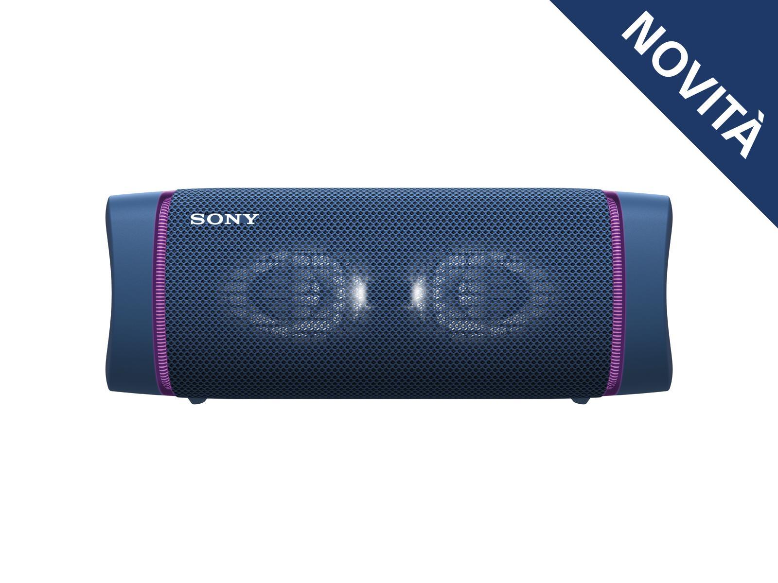 Sony SRS XB33 - Speaker bluetooth waterproof, cassa portatile con autonomia fino a 24 ore e effetti luminosi (Blu)