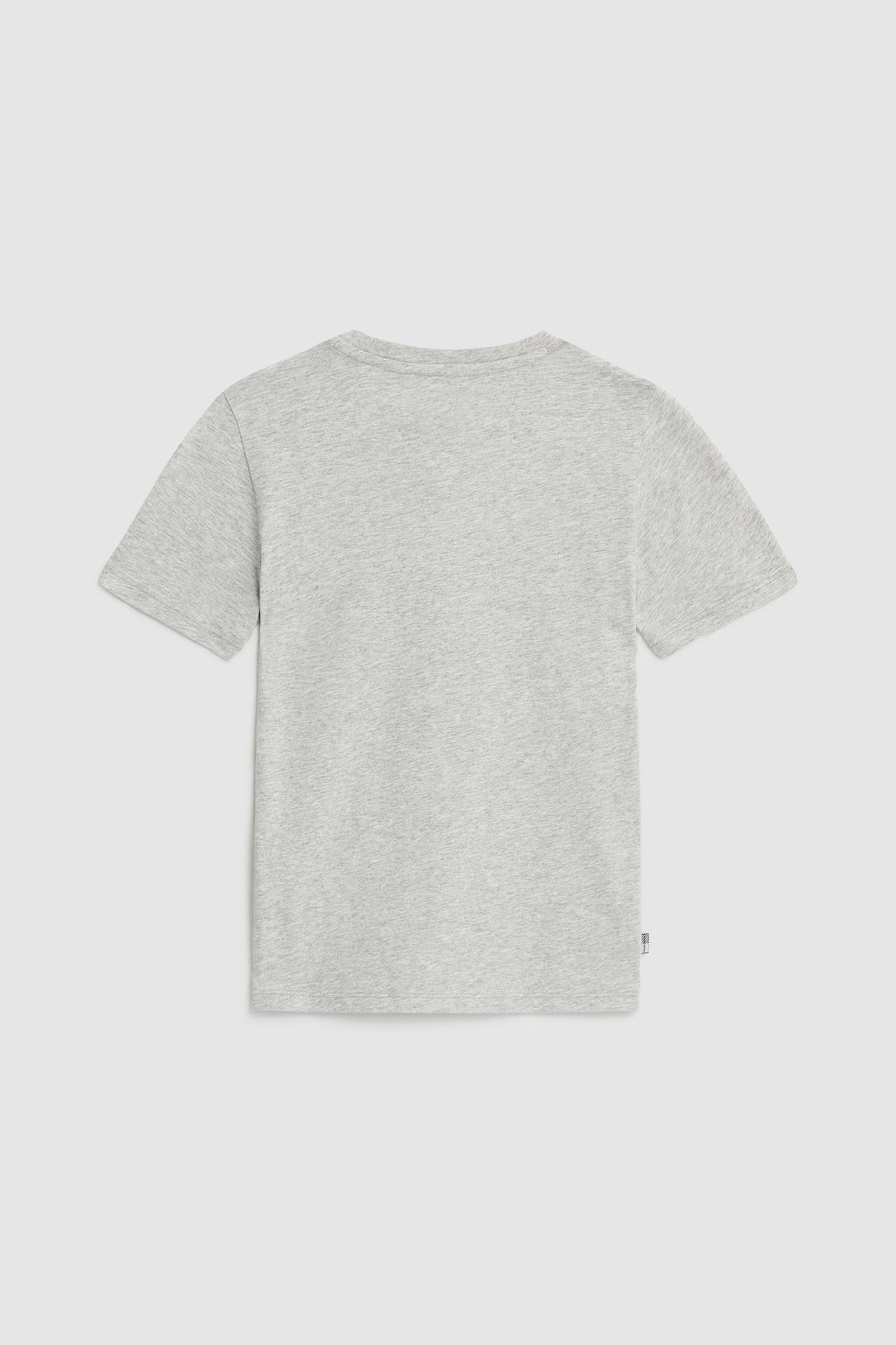 T-shirt mezza manica grigio melange con logo e bandiera USA frontale 10-16 anni