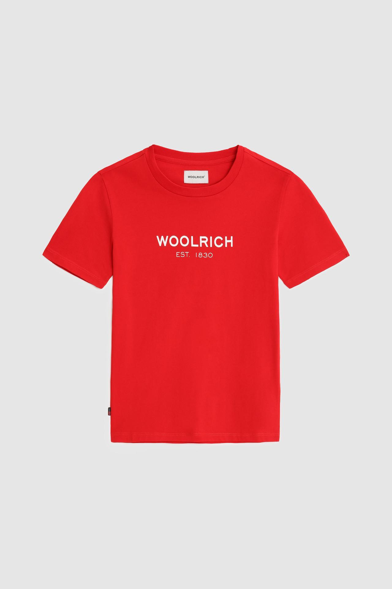 T-shirt mezza manica rossa con logo bianco frontale 10-16 anni