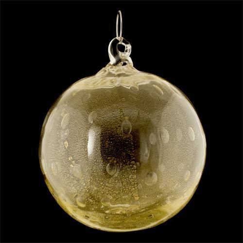 Palla di natale vetro Murano foglia oro zecchino con bolle sommerse