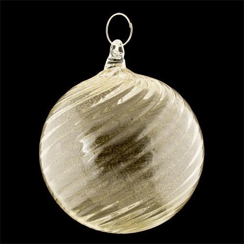Palla di natale vetro Murano foglia oro zecchino con texture a spirale