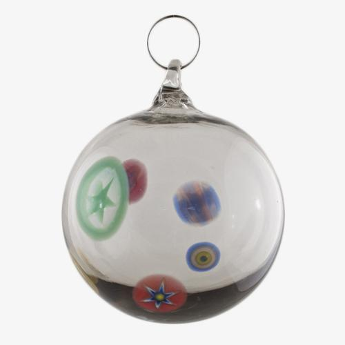 Palla di natale vetro Murano grigio chiaro con murrine colorate