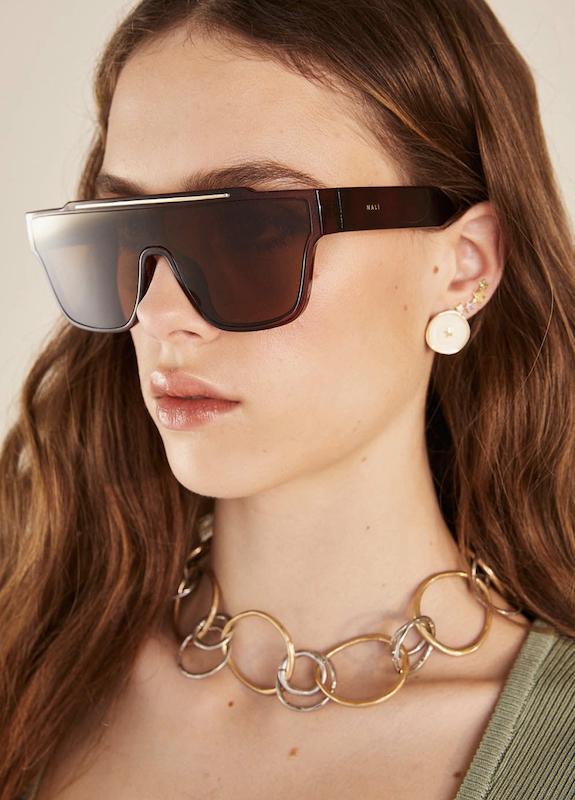 Occhiali da sole Bianca oversize marroni Nalì