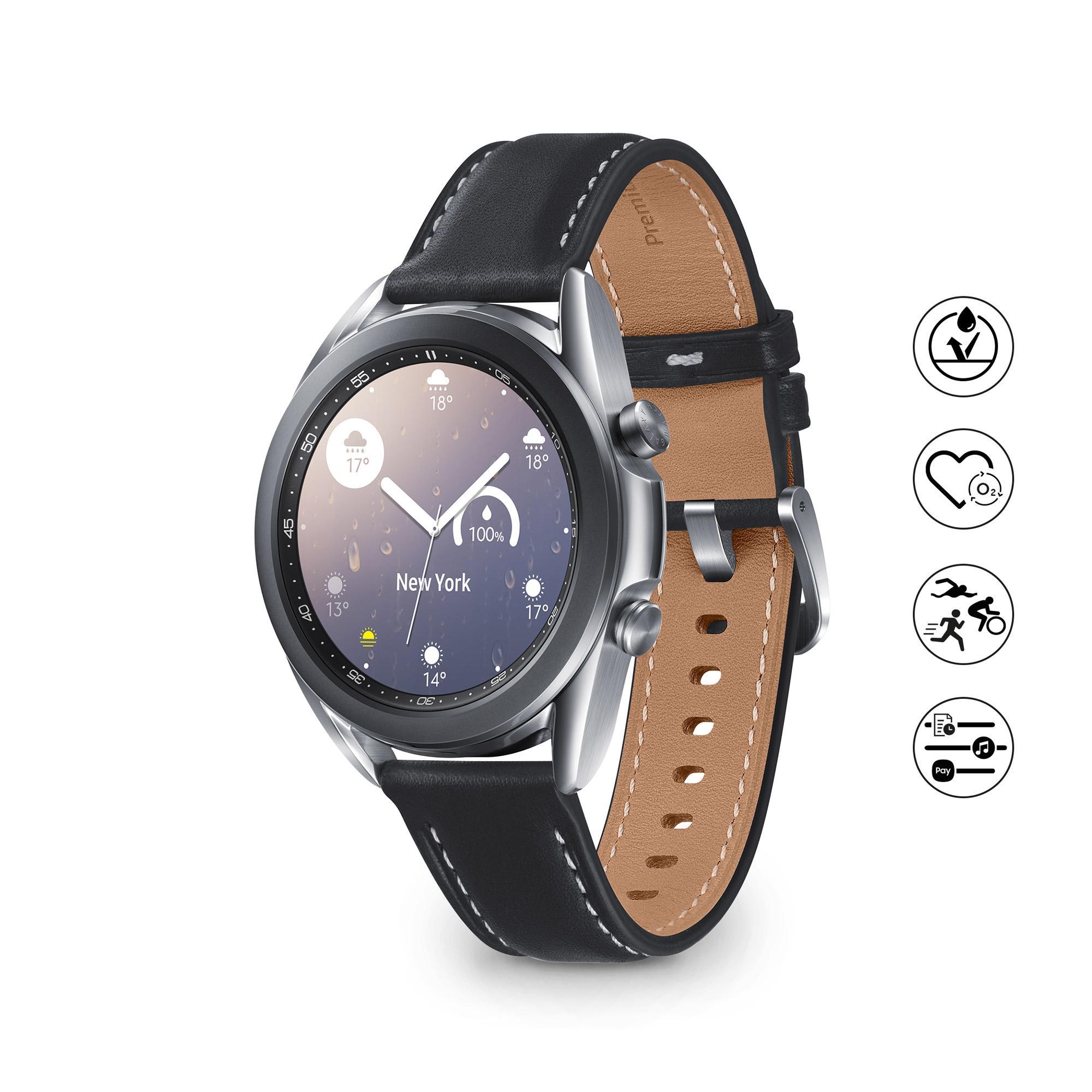Samsung Galaxy Watch3 Smartwatch Bluetooth, cassa 41mm acciaio, cinturino pelle, Saturimetro, Rilevamento cadute, Monitoraggio sport, 48,2g, Batteria 247 mAh, IP68, Mystic Silver