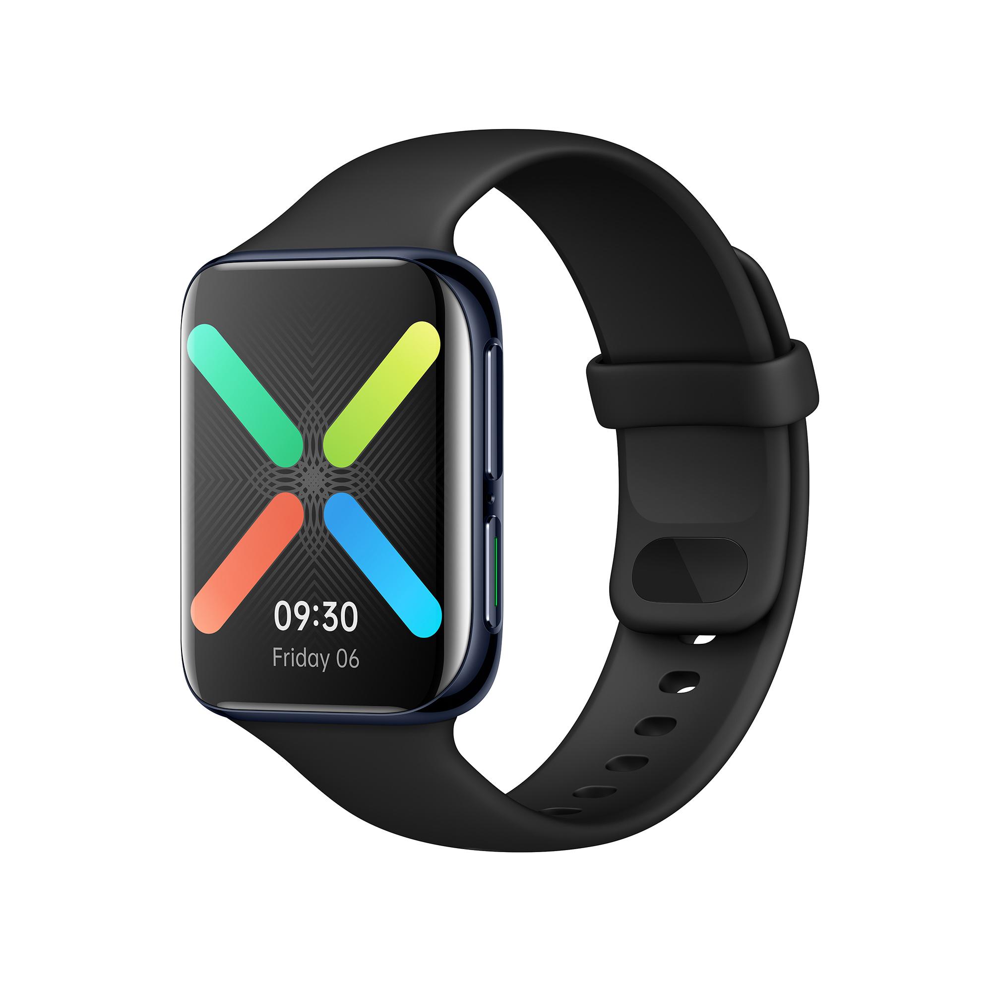 """OPPO Watch 46mm, Smart Watch, 39.3g, quadrante a lega di alluminio, cinturino a gomma Fluorurata, display flessibile AMOLED 1,91"""", [Versione Italiana], Black"""