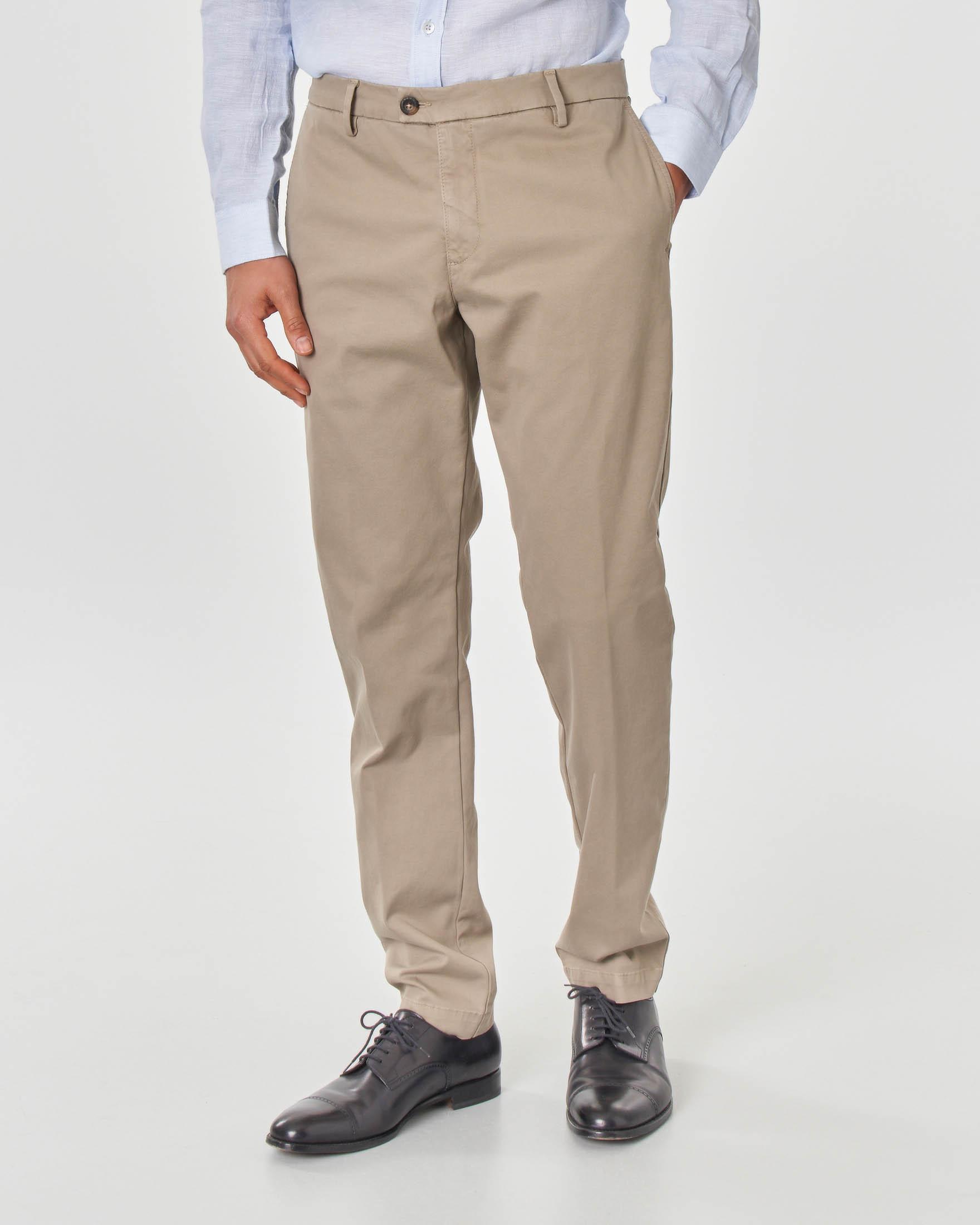 Pantalone chino tortora in tricotina di cotone stretch
