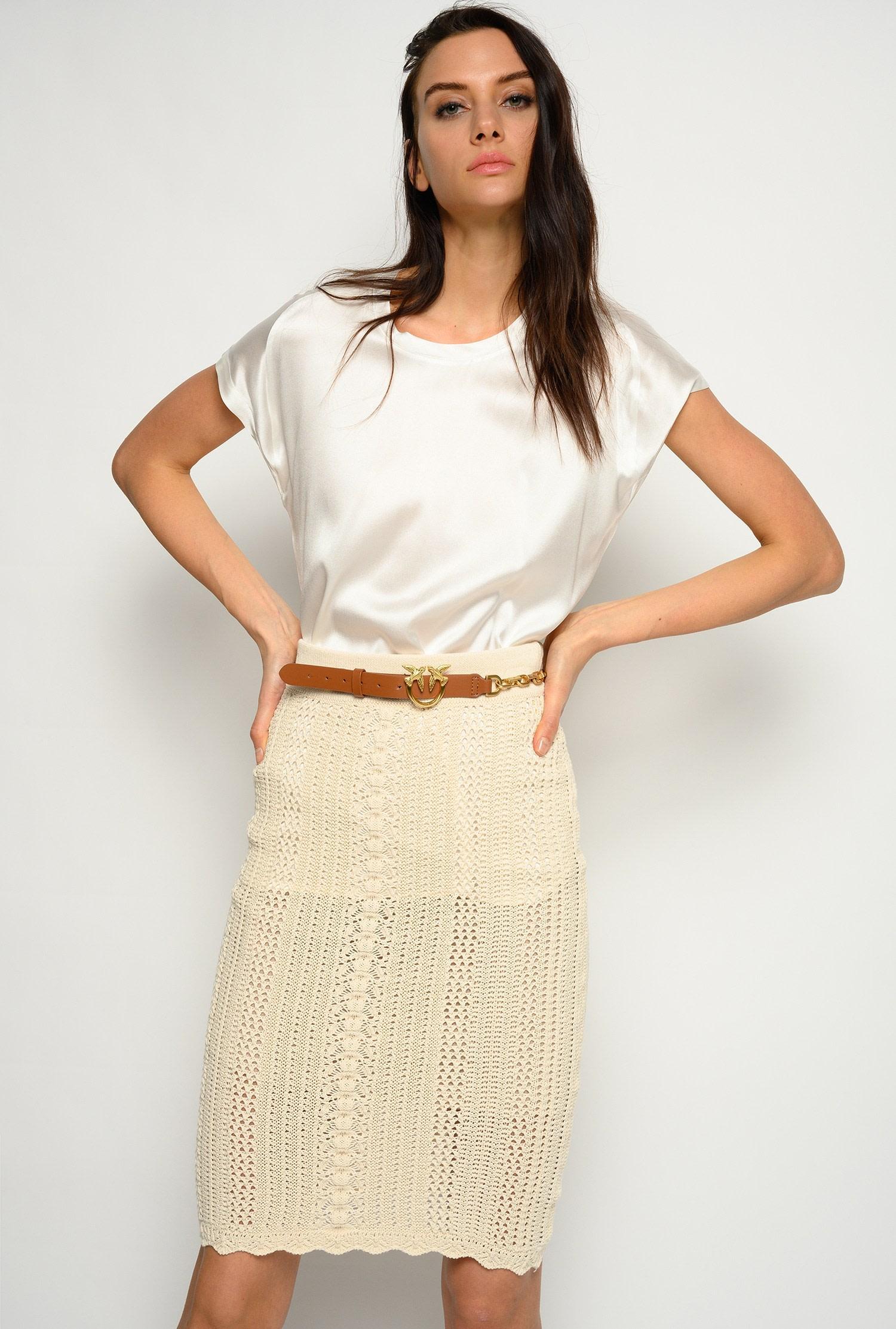 Blusa Farisa in satin di seta stretch bianca Pinko