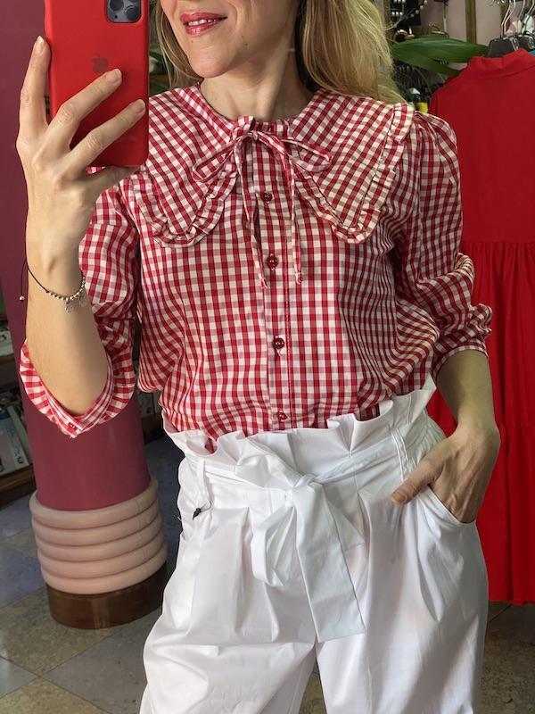 Camicia Vicolo fantasia Vichy con colletto Taglia M