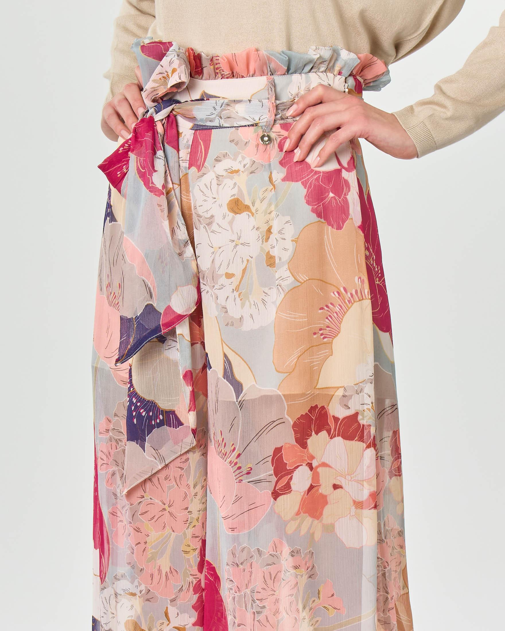 Pantaloni palazzo in crepon a stampa floreale multicolore con arricciatura e cintura in vita