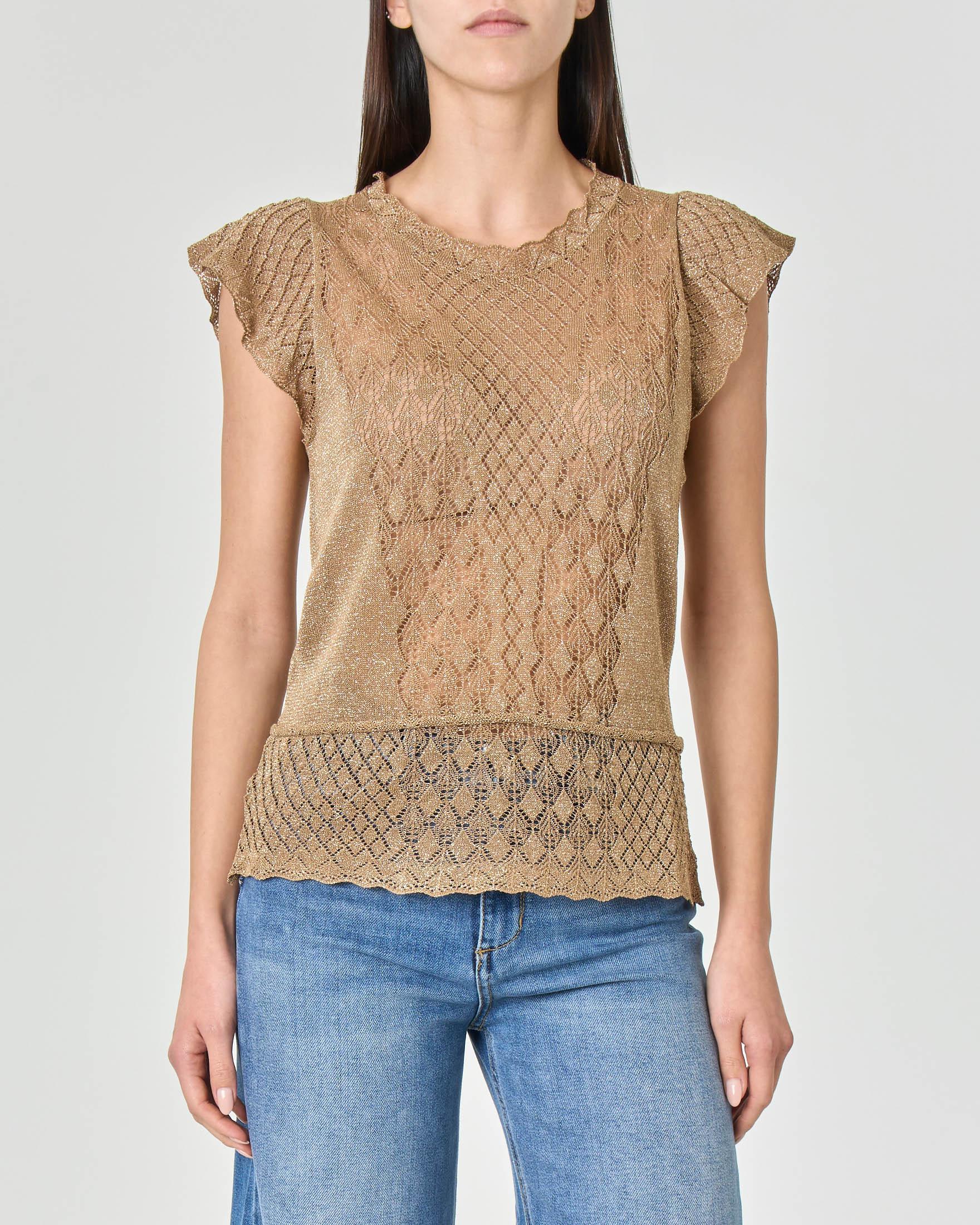Top a maglia traforata in viscosa stretch color oro con maniche ad aletta