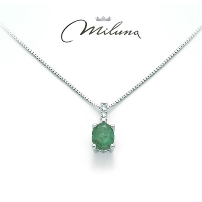 Collana Miluna smeraldo e diamanti
