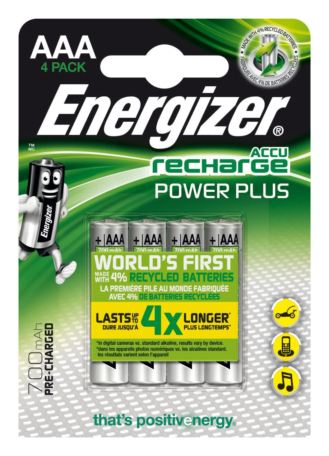Energizer Accu Recharge Power Plus 700 AAA BP4 Batteria ricaricabile Nichel-Metallo Idruro (NiMH)