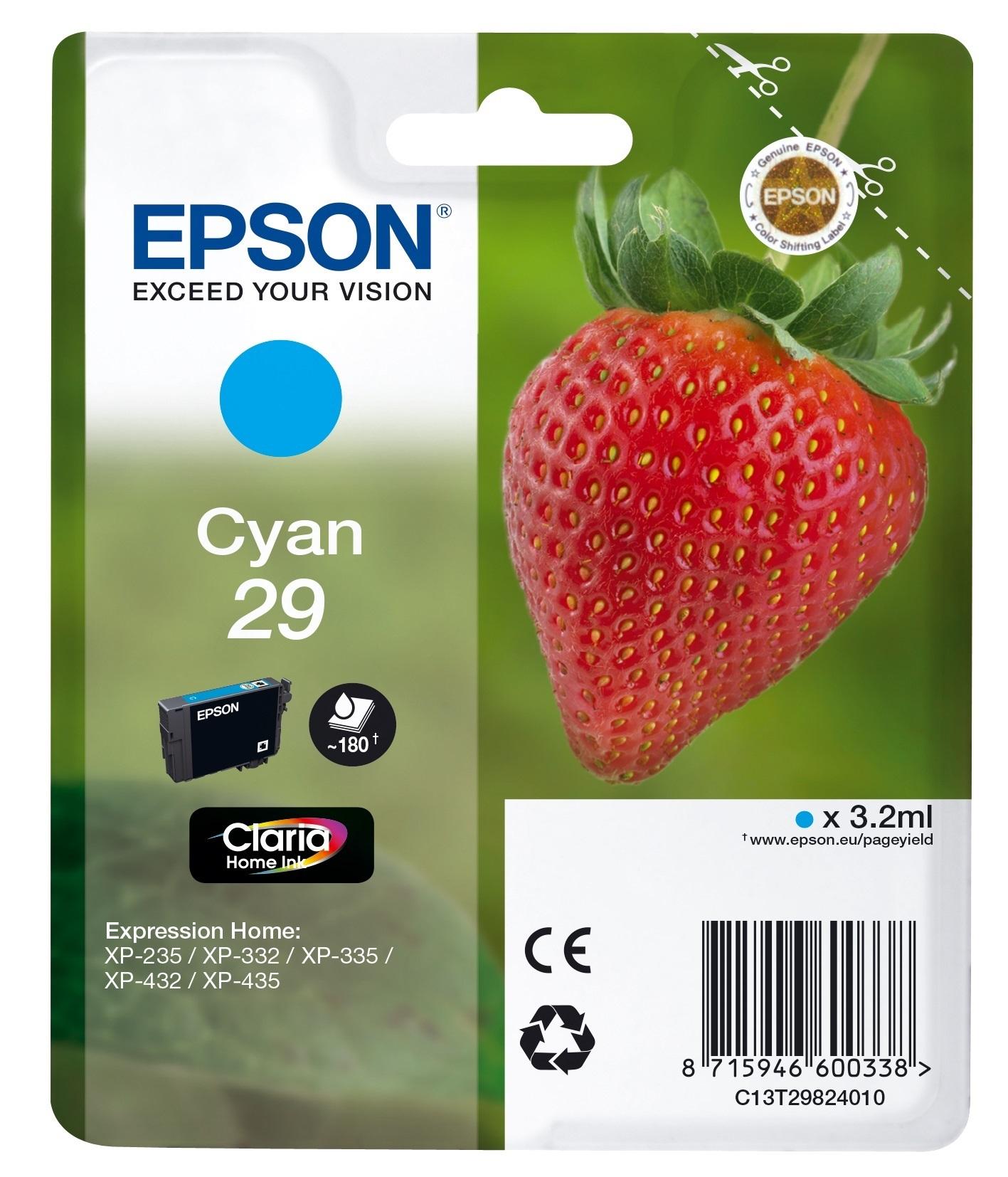 Epson Strawberry 29 C cartuccia d'inchiostro 1 pezzo(i) Originale Resa standard Ciano
