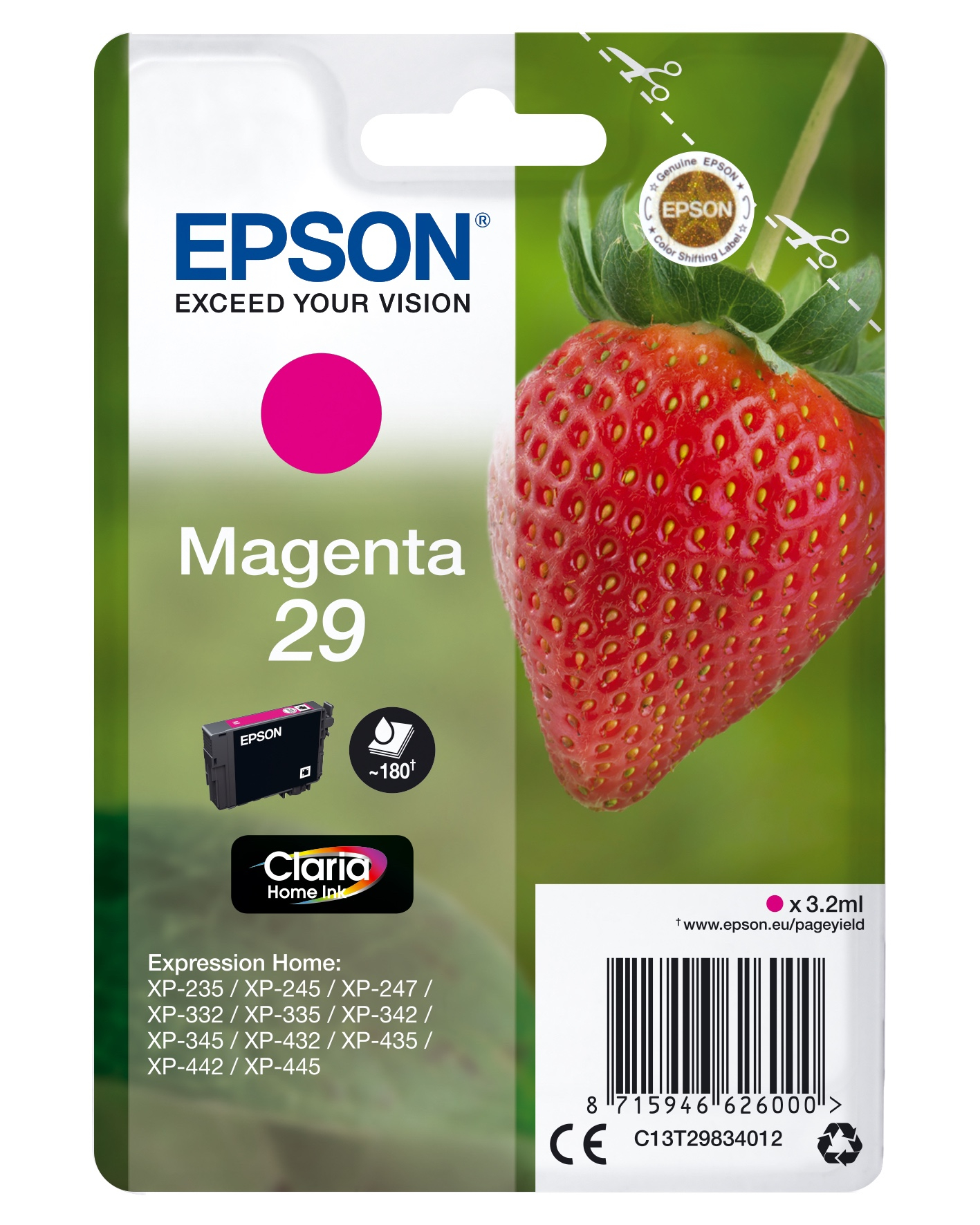 Epson Strawberry Cartuccia Fragole Magenta Inchiostri Claria Home 29
