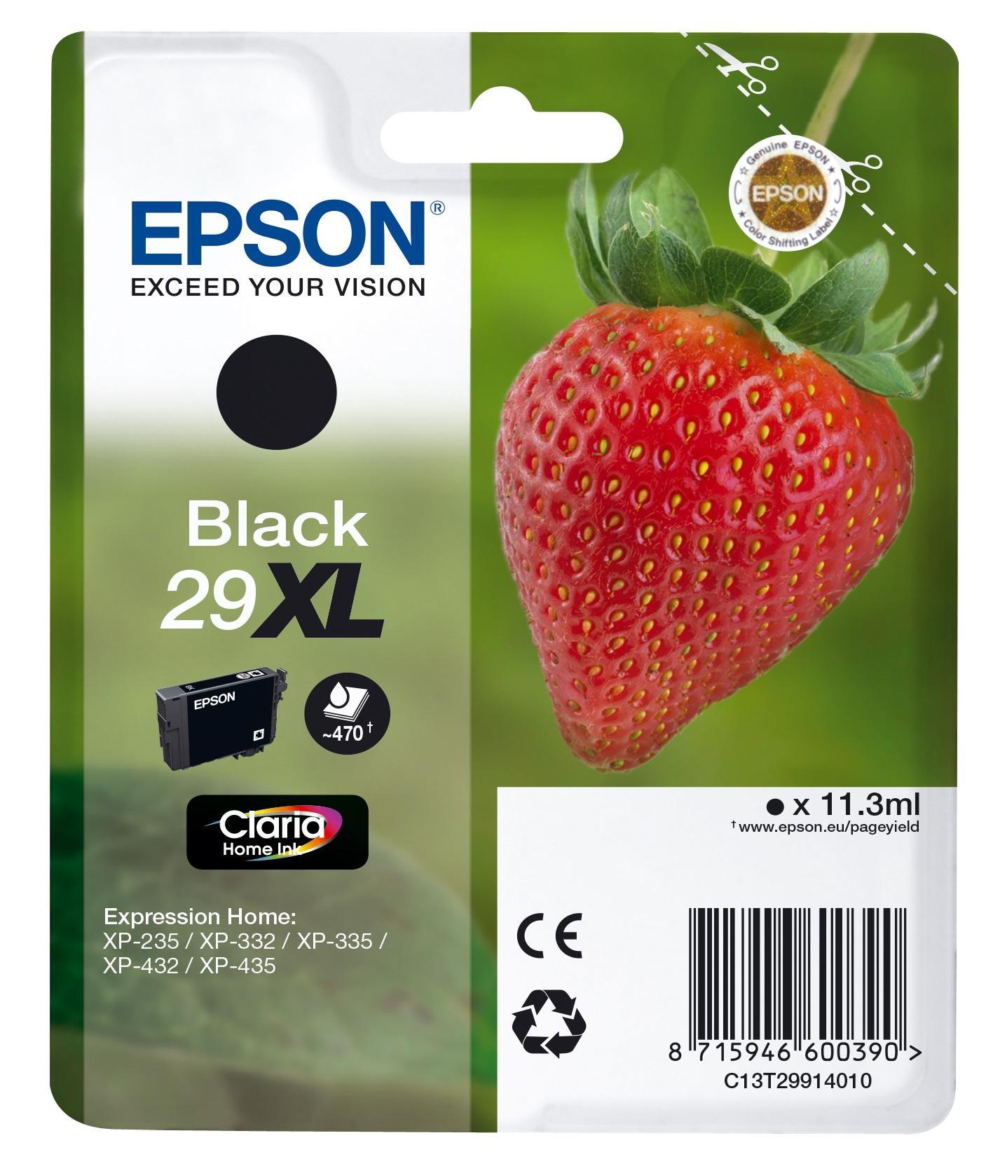 Epson Strawberry 29XL cartuccia d'inchiostro 1 pezzo(i) Originale Resa elevata (XL) Nero