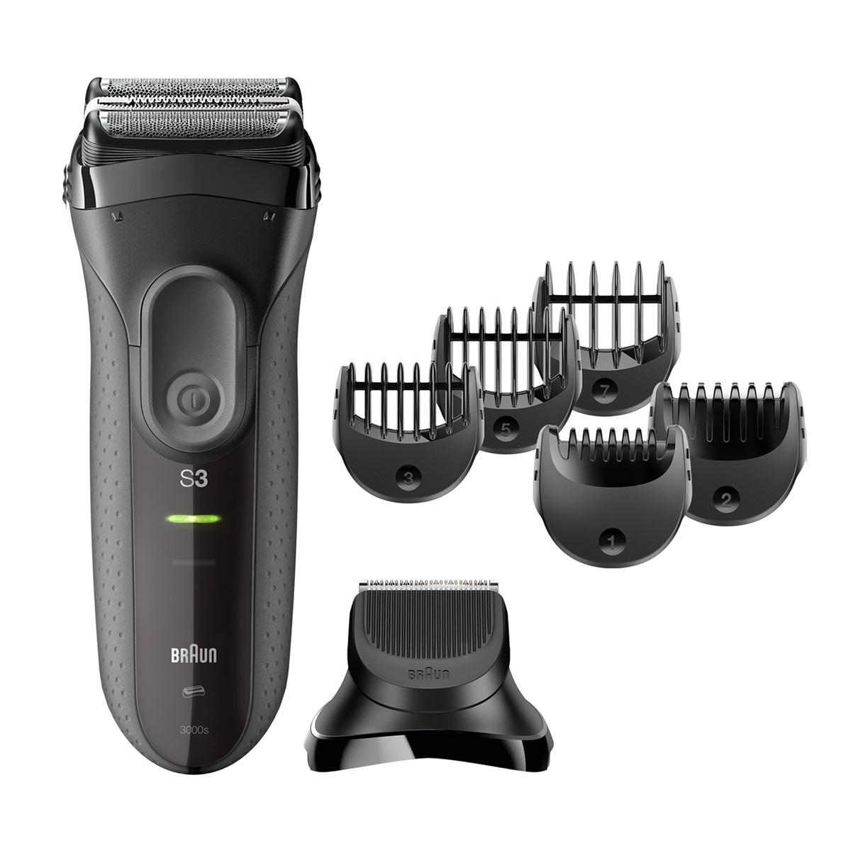Braun Rasoio Series 3 Shave&Style 3000BT con testina del rifinitore e 5 pettini, Nero