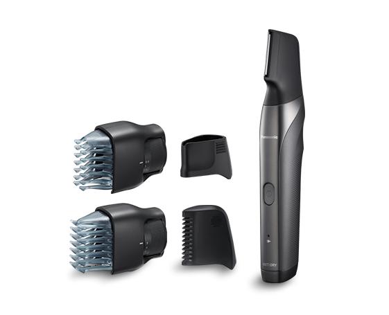 Panasonic ER-GY60-503, Regolabarba, Viso e corpo, Lama verticale, 4 Pettini accessori, 30 step taglio, Wet&Dry, Silver