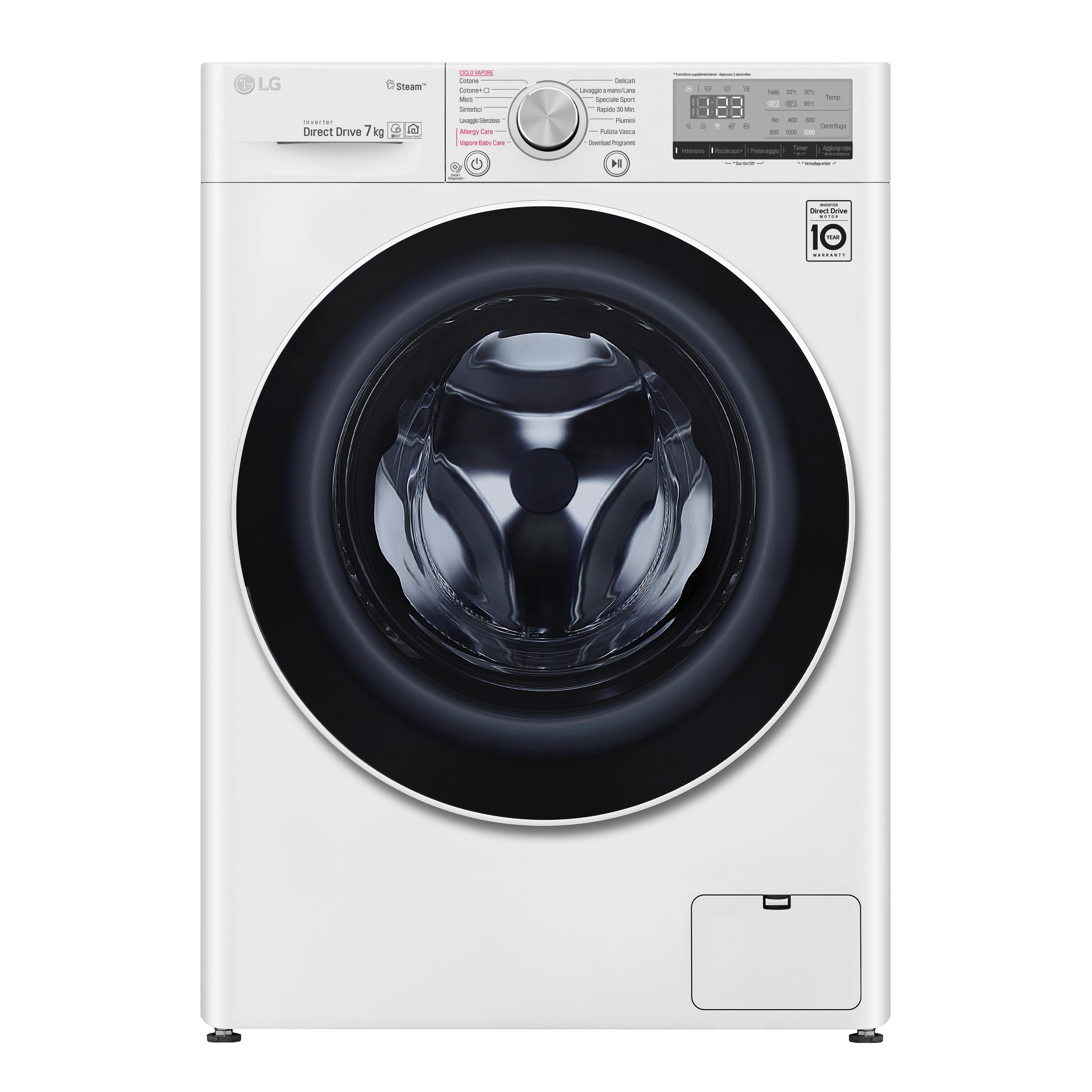 LG Smart AI DD™ F2WV4S7S0E lavatrice Libera installazione Caricamento frontale Bianco 7 kg 1200 Giri/min