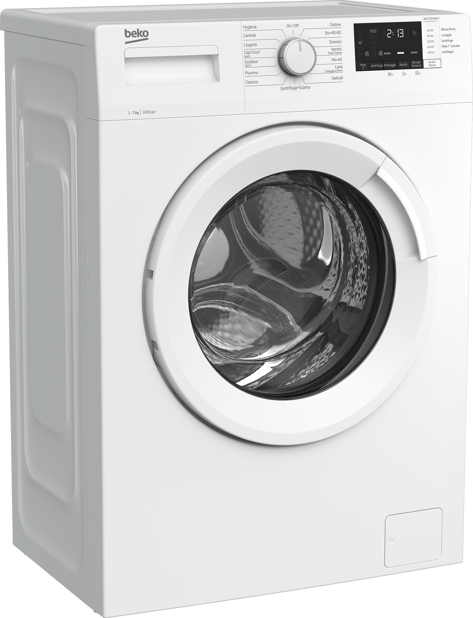 Beko WUX71032W/IT lavatrice Libera installazione Caricamento frontale 7 kg 1000 Giri/min E Bianco