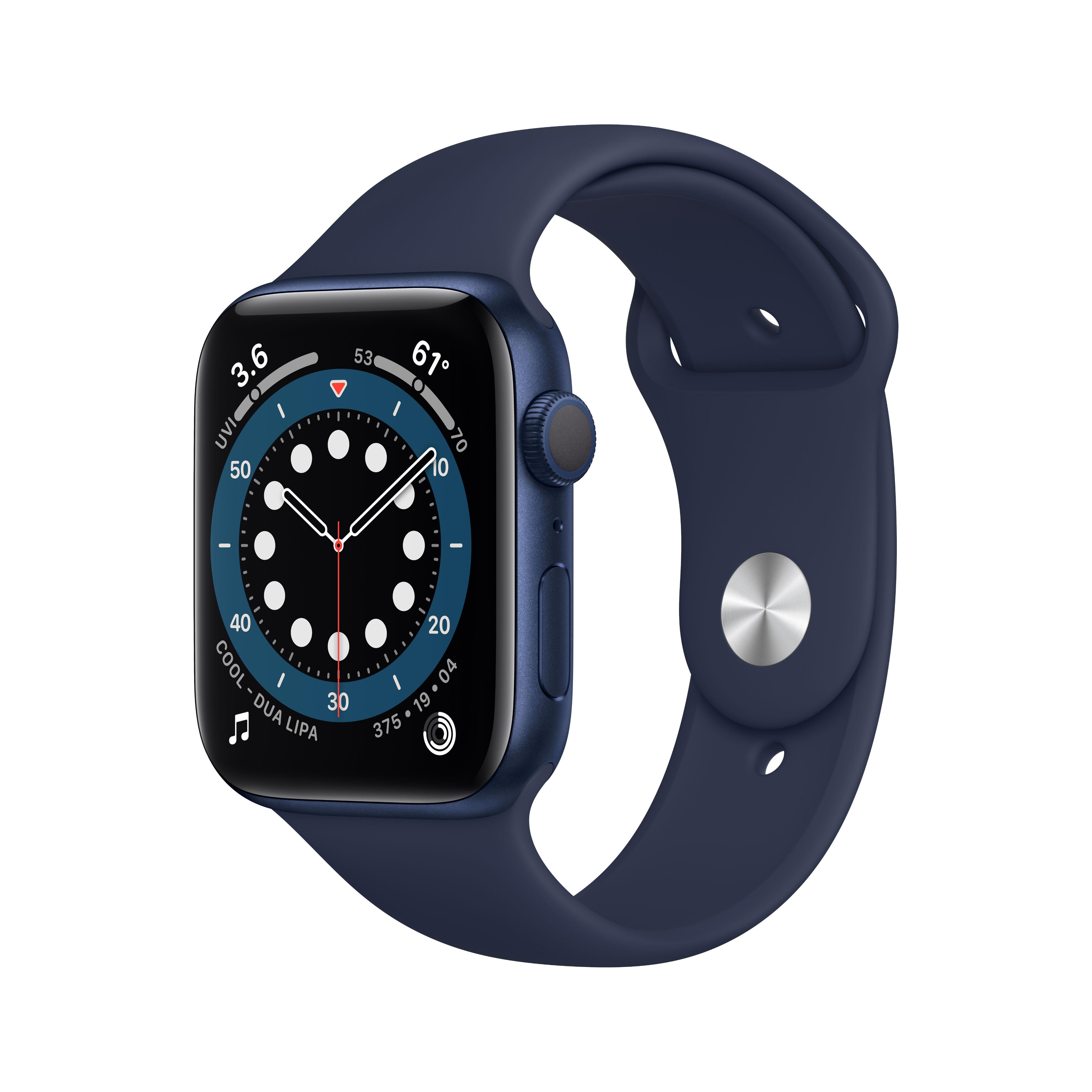 Apple Watch Serie 6 GPS, 40mm in alluminio azzurro con cinturino Sport Deep navy
