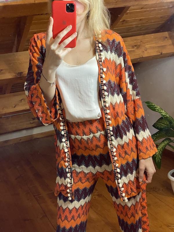 Kimono Ricamato  in cotone Tensione In