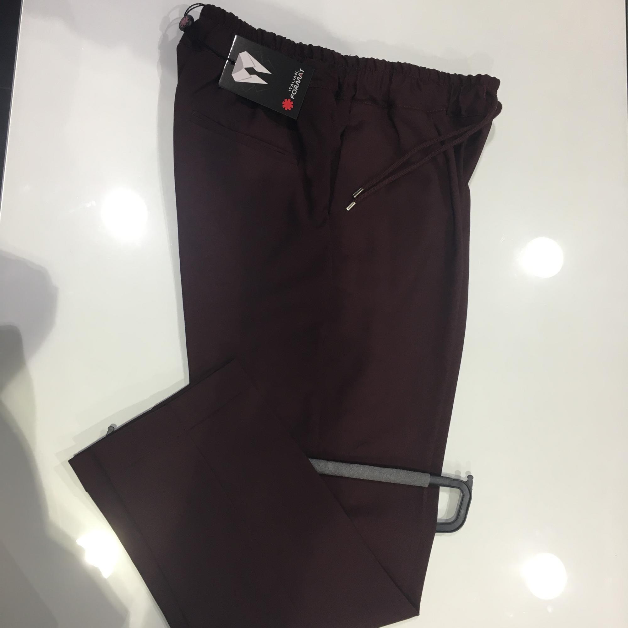 Pantalone con elastico uomo bordeaux misto lino e viscosa