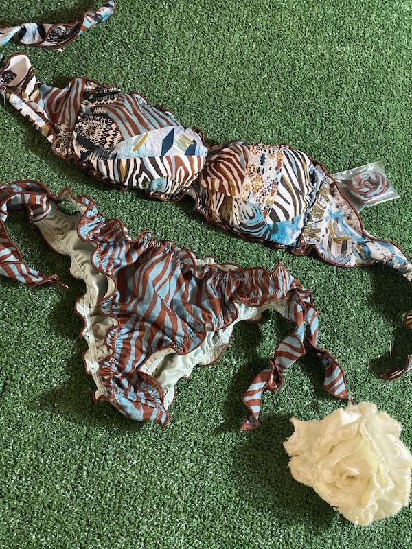 Bikini fascia e slip nodi brasiliano regolabile Frou Frou Roam Effek Taglia LG