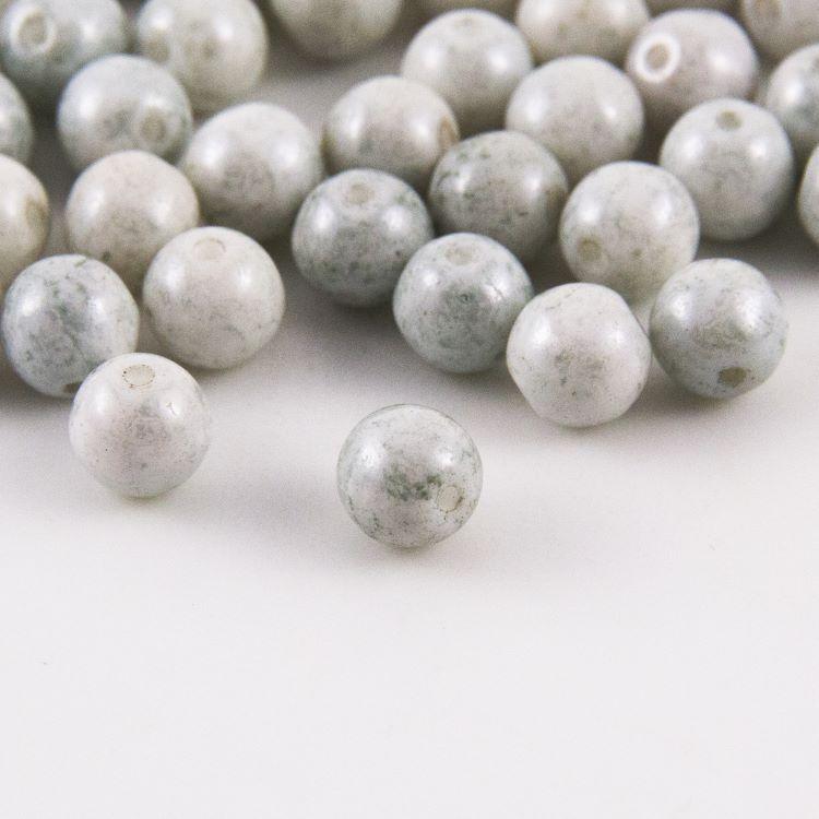 Perla tonda in pasta di vetro grigio perlata, 7 mm