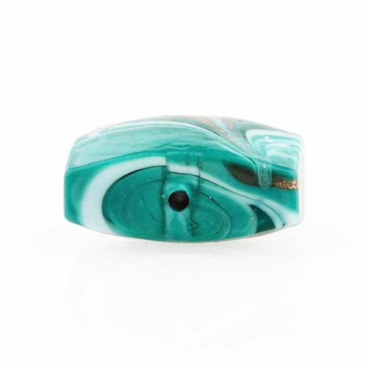 Perla di Murano schissa Fenicio Ø18. Vetro verde chiaro, verde acqua, verde scuro e avventurina. Foro passante.