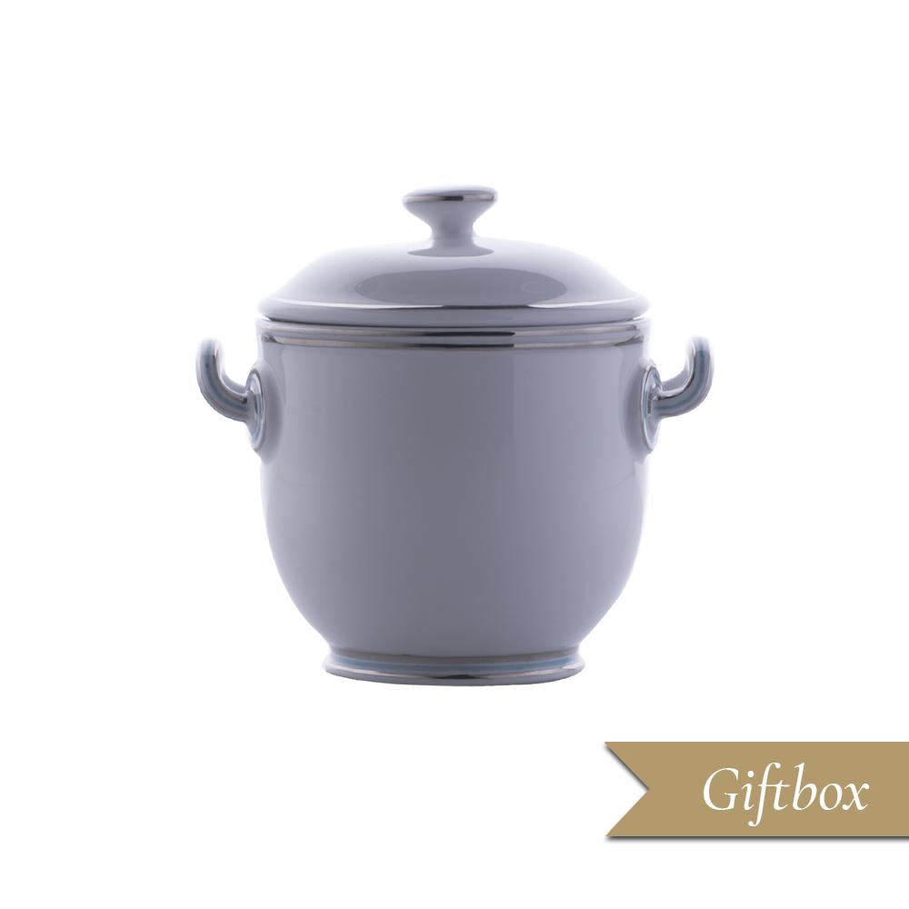 Piccolo vaso con coppetta caviale in Giftbox GCV - Fili platino e azzurro