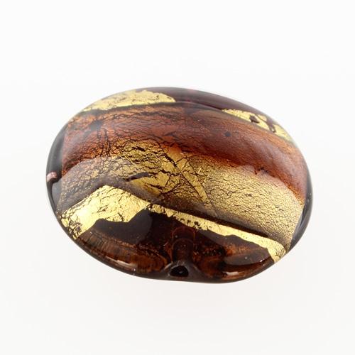 Perla di Murano schissa Sommersa Ø24. Vetro ametista chiaro e scuro, foglia oro. Foro passante.