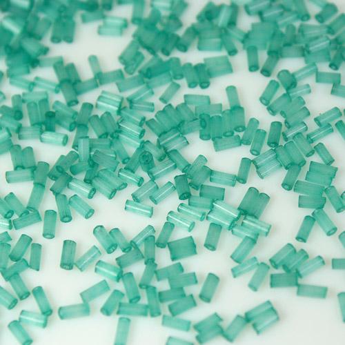 Perline di conteria cannette verde acquamare, 5 mm