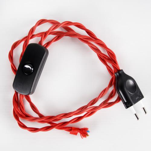 Cablaggio per lampada rosso con interuttore e spina nera, cavo treccia tessile 120 cm (spina) + 80 cm (attacco).