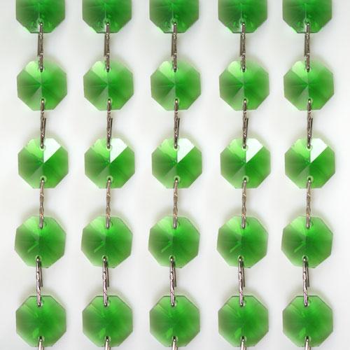 Catena ottagoni 14 mm in cristallo verde, lunghezza 50 cm, clip nickel.