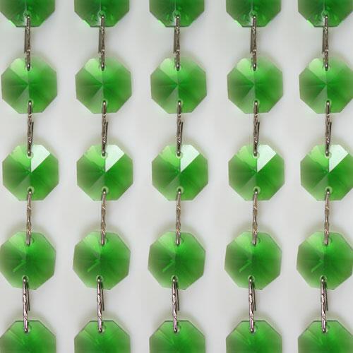 Catena ottagoni 16 mm cristallo verde, lunghezza 50 cm, clip nickel.