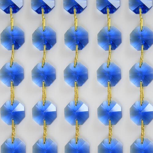 Catena ottagoni 16 mm in cristallo blue, lunghezza 50 cm, clip ottone.
