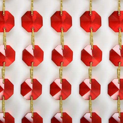 Catena ottagoni 18 mm in cristallo colore rosso, lunghezza 50 cm, clip ottone.