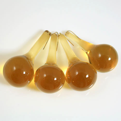 Goccia rotonda 55 mm in vetro Murano ambra chiaro