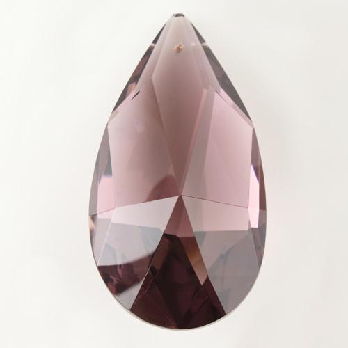 Mandorla in cristallo cecoslovacco h100 mm colore ametista scuro. Pendente originale marchio Boemia molato a mano.