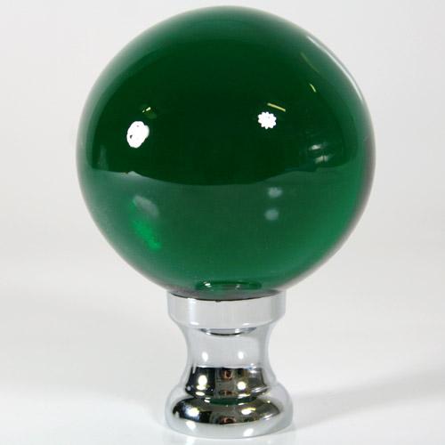 Maniglia pomello sfera verde scuro Ø65 vetro di Murano rocchetto nikel.