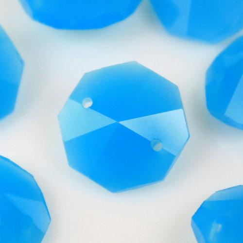 Ottagono 14 mm turchese seta vetro cristallo molato 16 facce 2 fori.