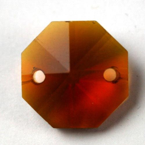 Ottagono 18 mm ambra caldo cristallo vetro molato 2 fori