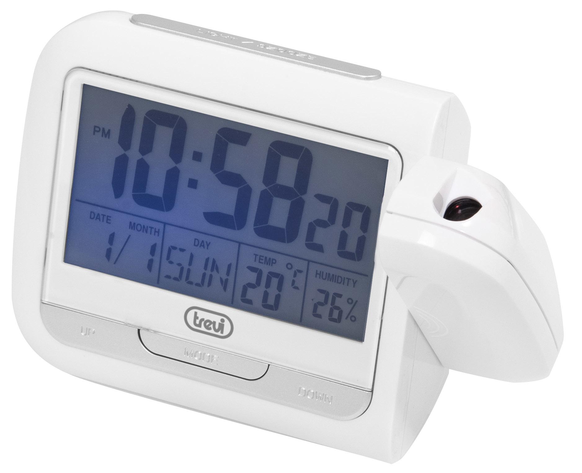 Trevi orologio digitale con sveglia e proiettore PJ 3027 Bianco